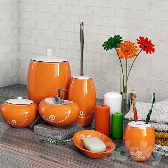 3d Models Bathroom Accessories A Set, Bathroom Accessories Orange