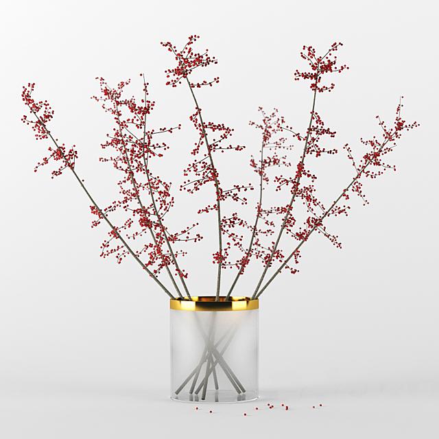 Autumn branches in glass vase
