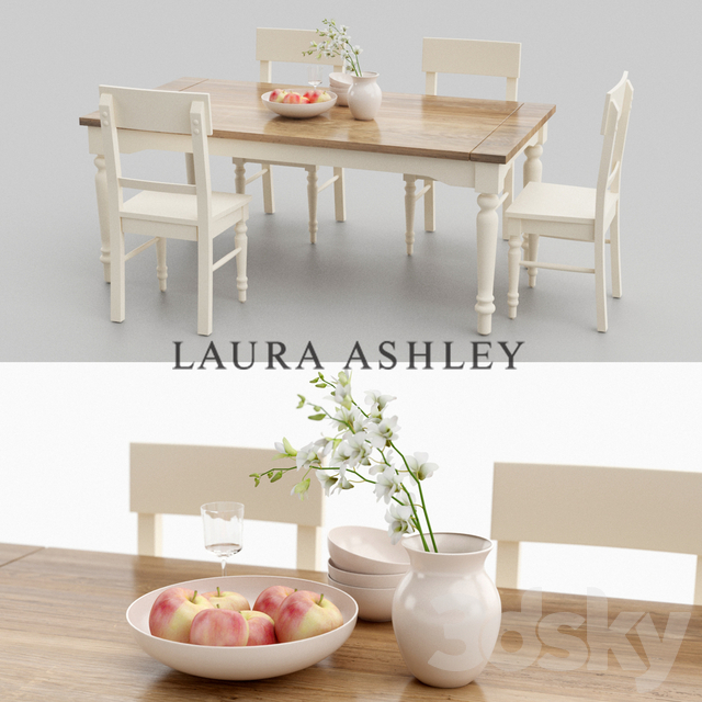 3d Models: Table + Chair - Laura Ashley Dining Table Set