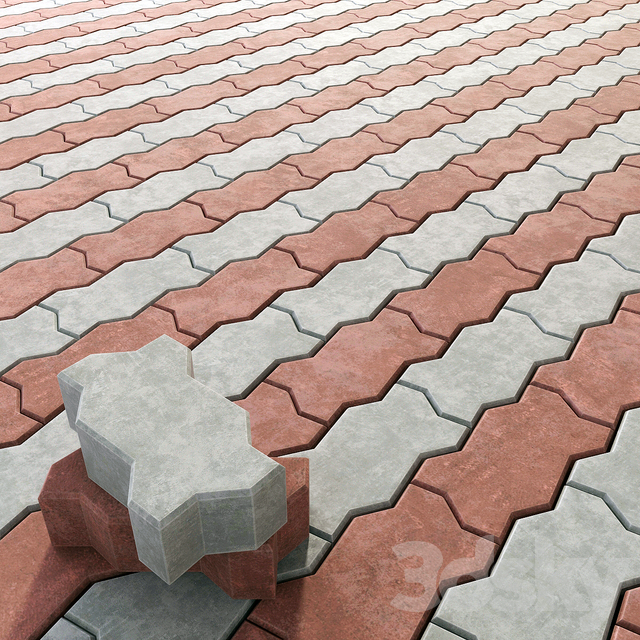 3d models: Paving - Stone paving stone Zig Zag Paver Blocks