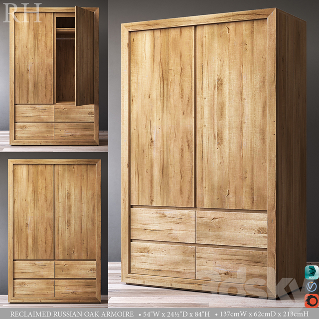 RECLAIMED RUSSIAN OAK ARMOIRE