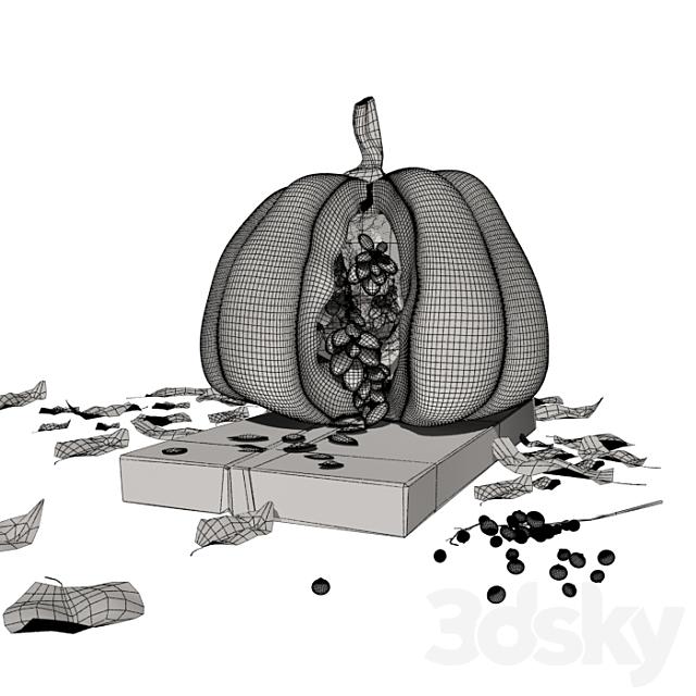 Open Pumpkin with Seeds