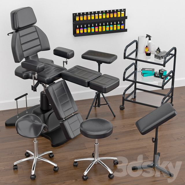 11d models: Beauty salon - Tattoo furniture set