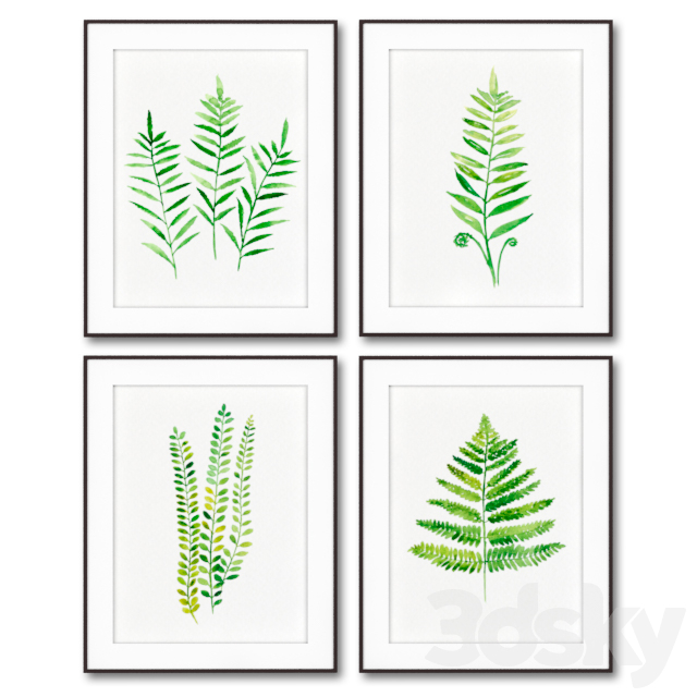 Fern Painting Green Abstract Leaf Watercolor Decor.