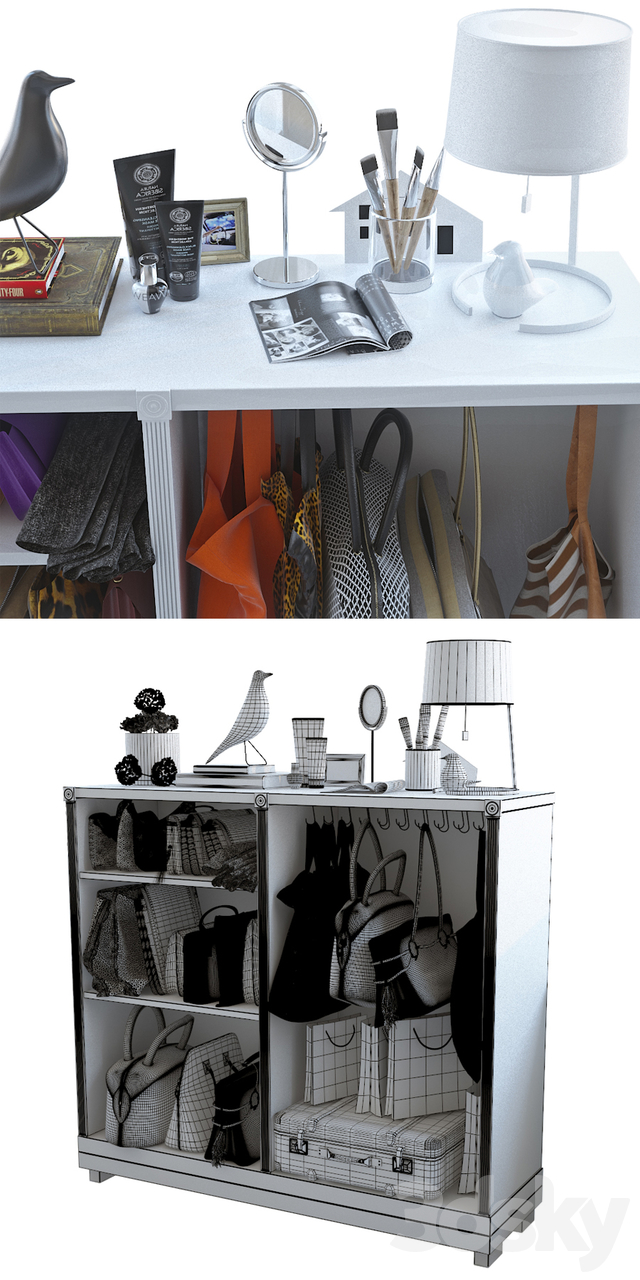 Cupboard with bags and decor