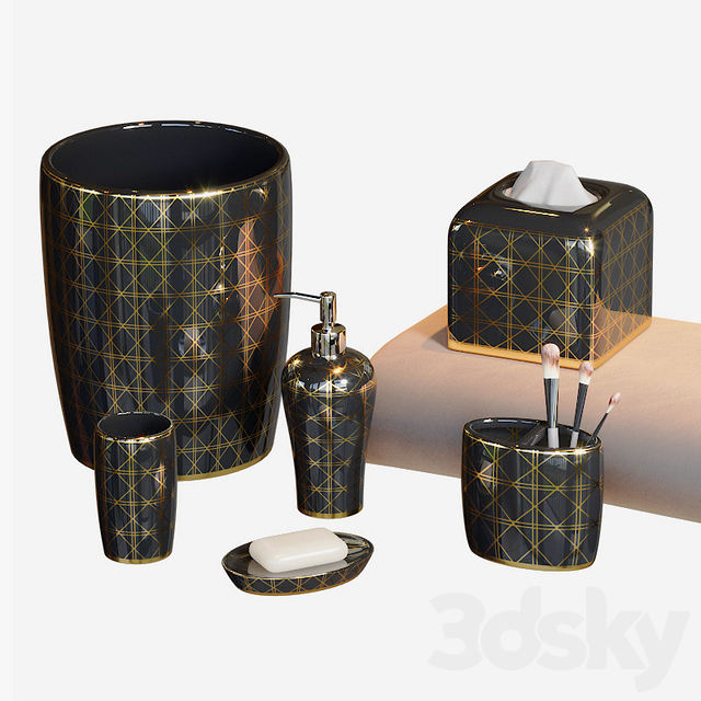 Beauty Black and Gold Bath Accessories