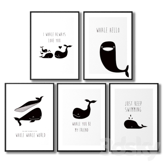 Inspiring posters for children with whales.