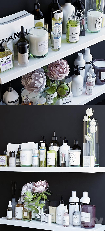 Shelves with cosmetics and bathroom decor - 2