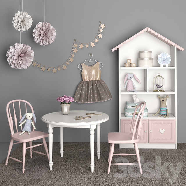 Furniture for children's room girls with decor 12