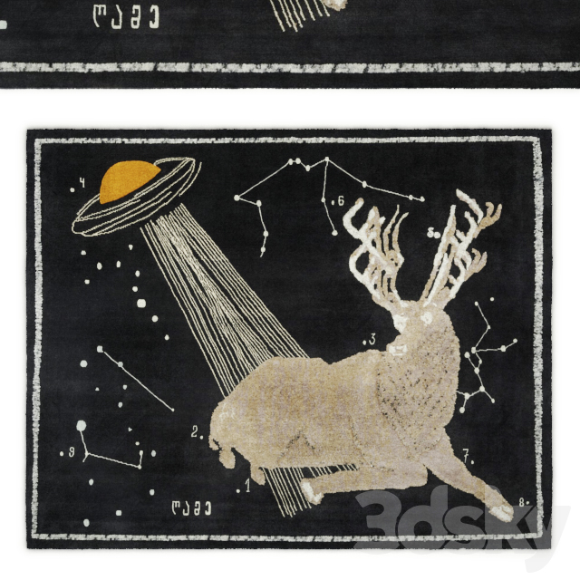 Deer at night rug