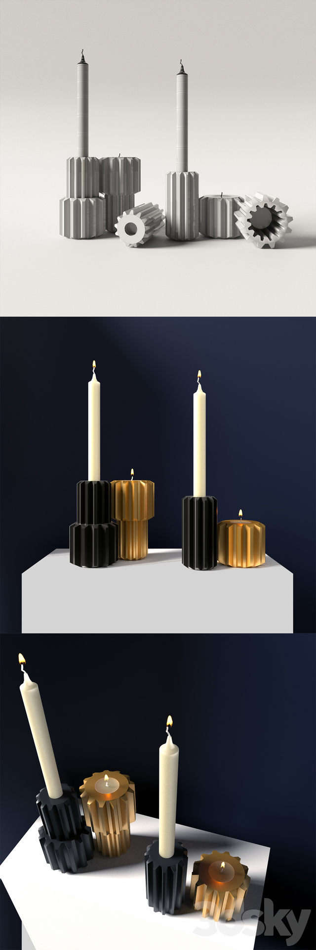 Decorative set of candles, Gear Candle holder, graphite black / gold by New Works