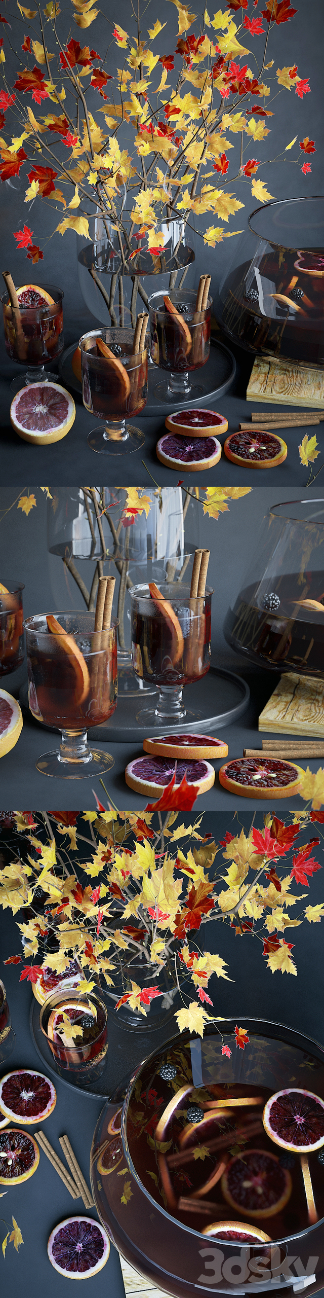 Kitchen set with mulled wine