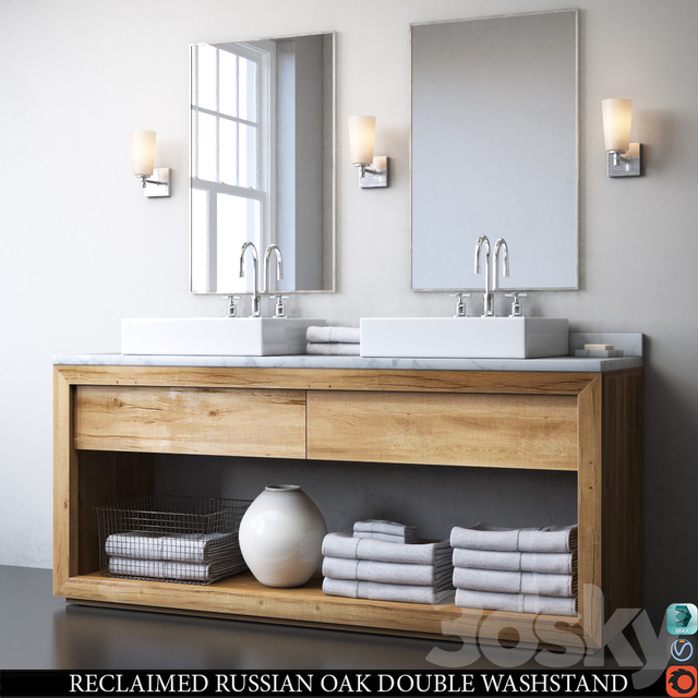 RECLAIMED RUSSIAN OAK DOUBLE WASHSTAND