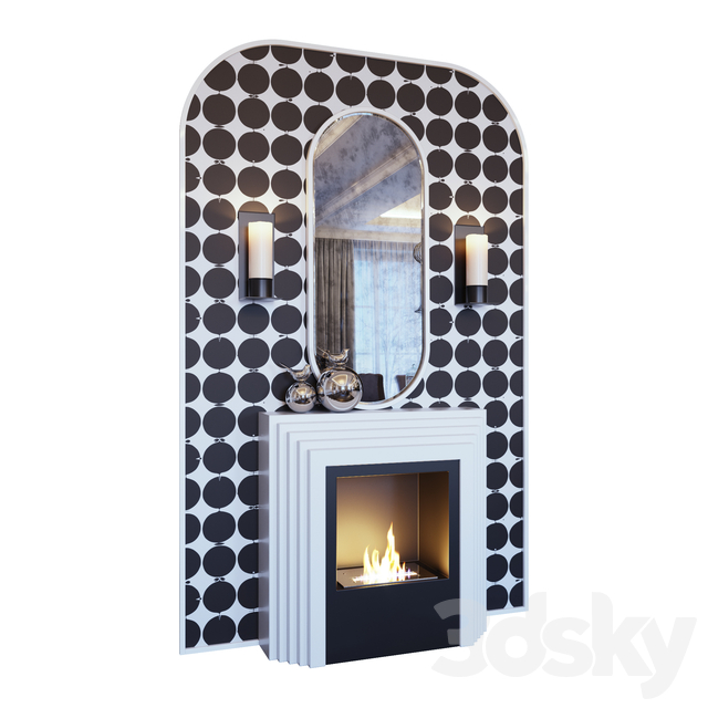 White fireplace, sconce, decor, mirror and pop art panels (Fireplace sconce mirror and decor pop art White 01 YOU)