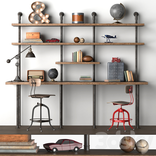 INDUSTRIAL PIPE DOUBLE DESK WITH SHELVING
