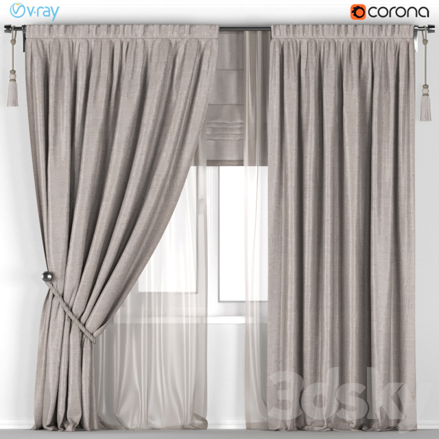 Beige curtains with pickup + beige tulle + Roman curtain