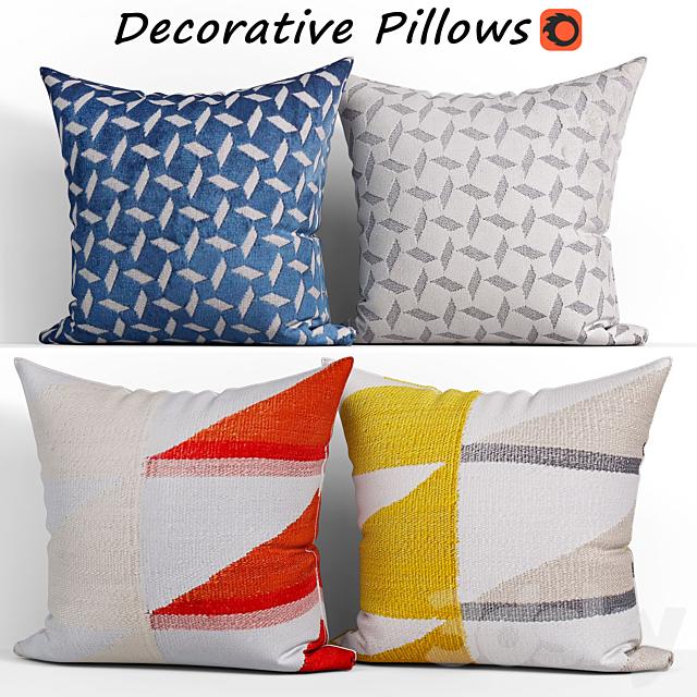 Decorative pillows set 160 Reflected Angles and Pinwheel, Jacquard, West elm