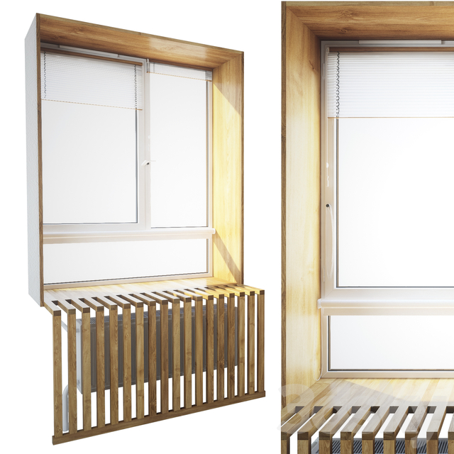 Window with wooden slopes