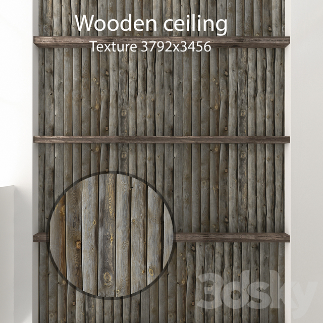 Wooden ceiling with beams 02