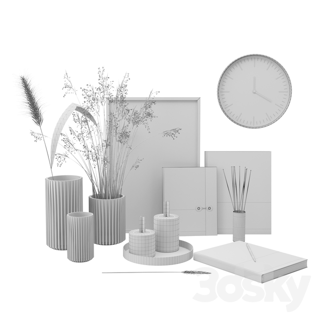 Set with grass and candles