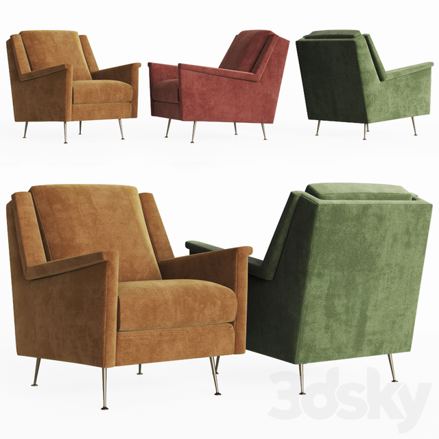 3d Models Arm Chair Carlo Mid Century Chair West Elm