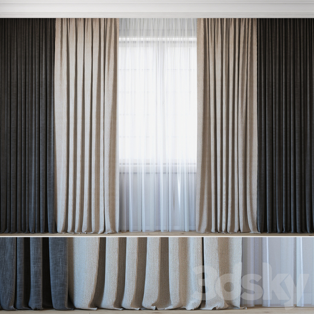 Curtains with tulle set 09