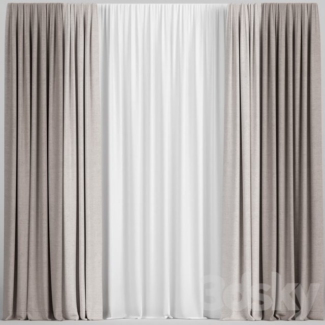 Light brown curtains with tulle.