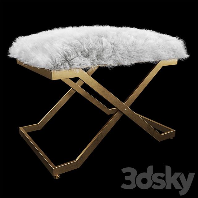 Uttermost Farran Fur Small Bench
