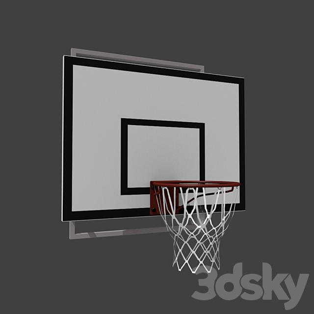 Basketball backboard with basket