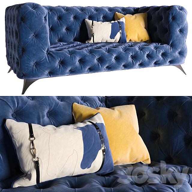 KARE Sofa Look 180cm Velvet Blue (vray NEXT)