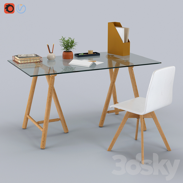 Philly Desk Glass Oak & Dante Swivel Office Chair by Made