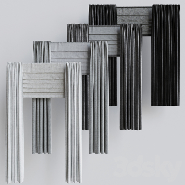 A set of curtains + a set of Roman curtains 1. Gray scale
