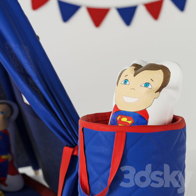 Wigwam Superman with cushions and basket