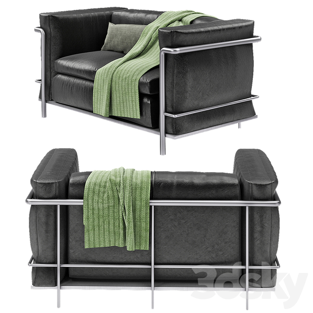 Le Corbusier Modern Black Leather Sofa