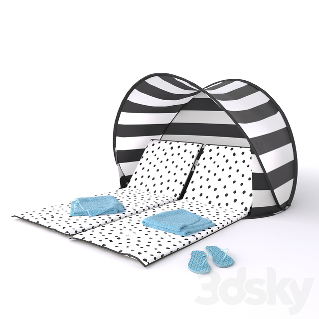 Chaise lounge with tent