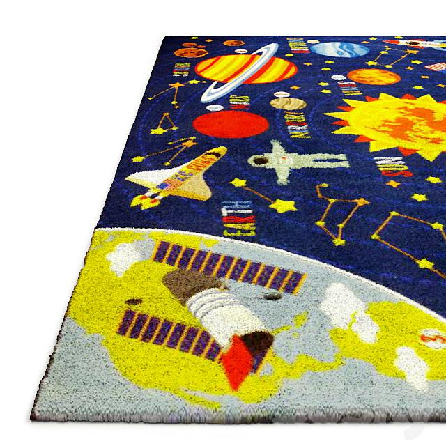 Multi-Color Kids Playroom Space Safari Area Rug