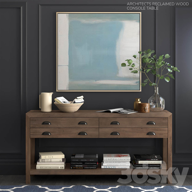 Pottery Barn set ARCHITECTS RECLAIMED WOOD CONSOLE TABLE