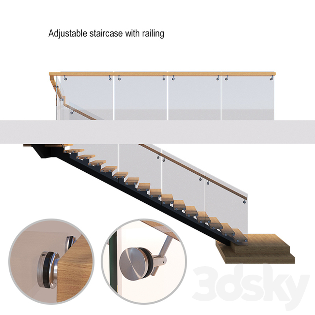 Adjustable staircase with railing