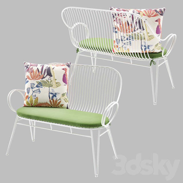 Scroll White Metal Outdoor Bench