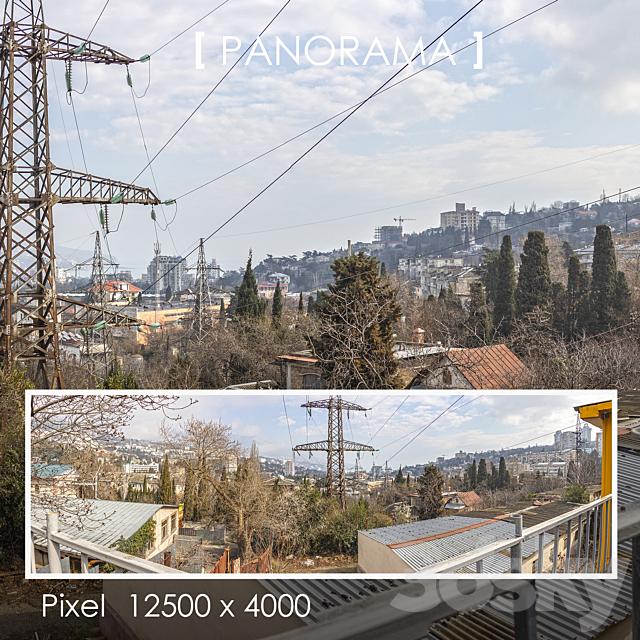 Set of panoramas of urban mountain landscape