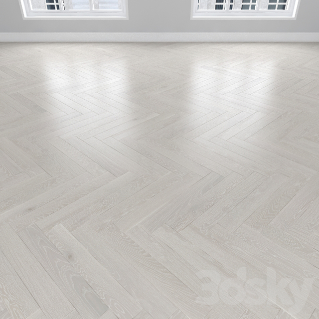 Parquet Oak white, 3 types: herringbone, linear, chevron.