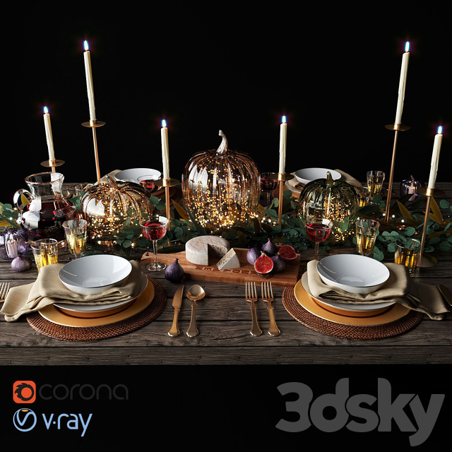 Autumn table setting with pumpkins