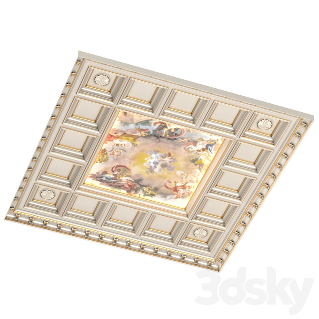 Classical coffered ceiling with a fresco.