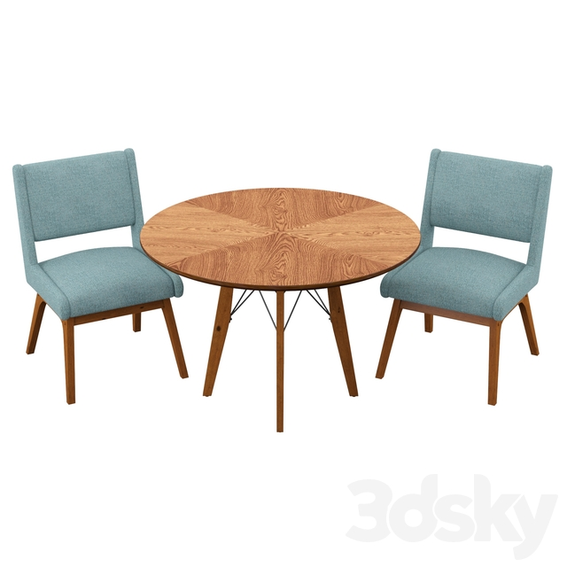 3 Piece Dining Set With Blue Chairs