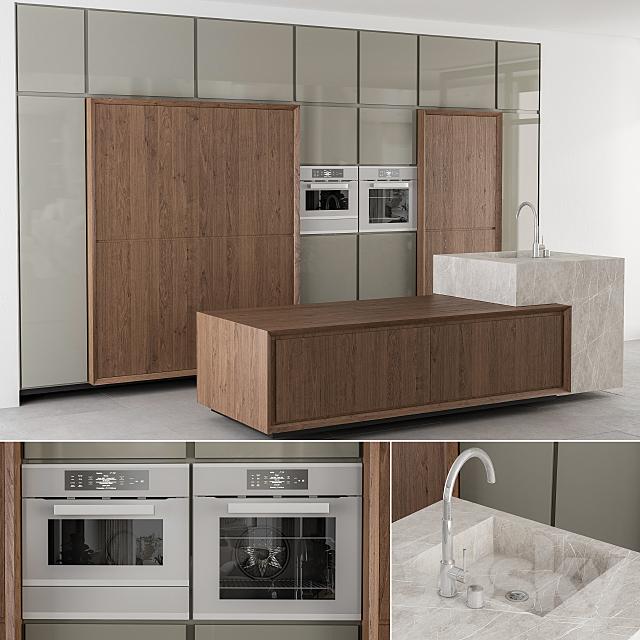 Kitchen wood and highglass
