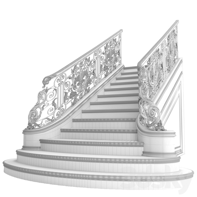 Classic marble staircase with wrought iron railing