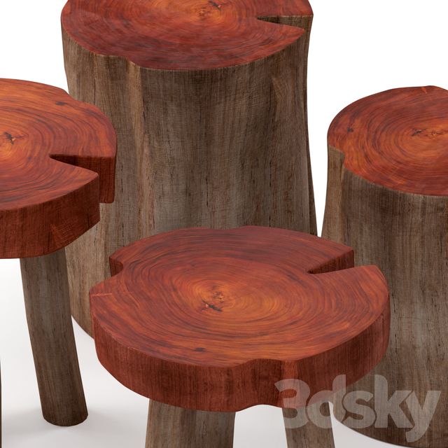 A series of coffee tables made of stumps and slab.