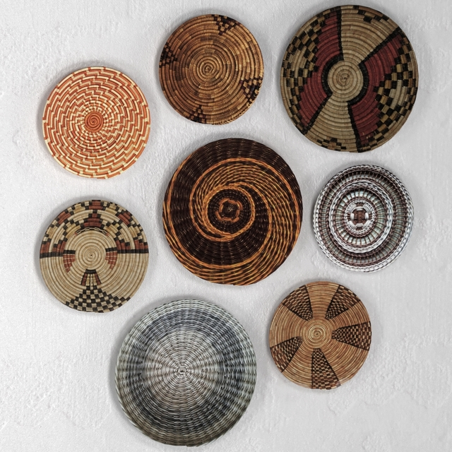 Wicker African wall baskets.