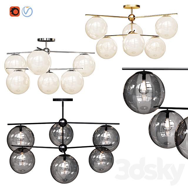 West Elm Sphere and Stem Flushmount collection 6 light Chandelier Chrome, Gold, Bronze