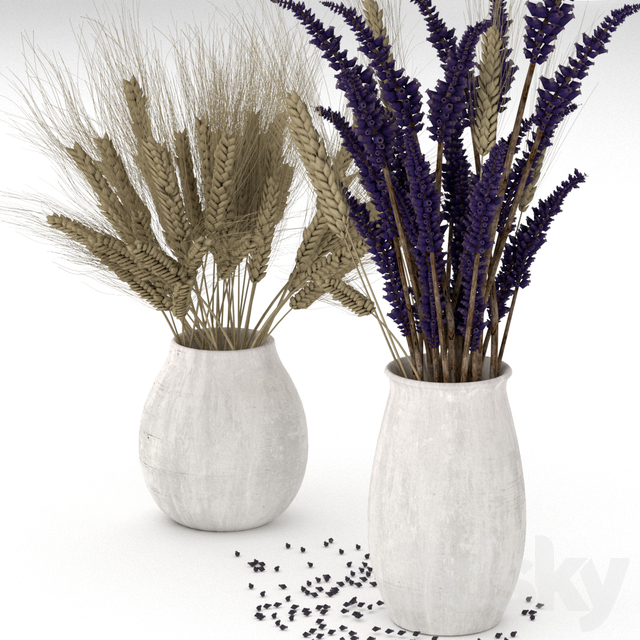 Dried flower bouquets: rye and lavender